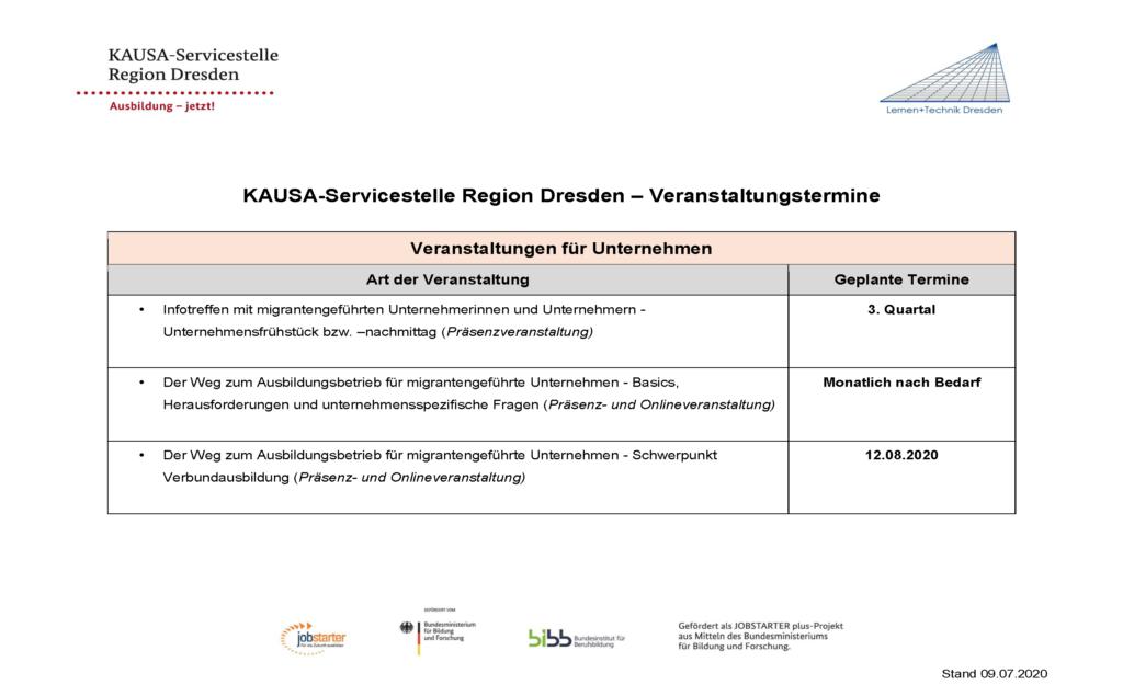 KAUSA-Servicestelle Region Dresden – Veranstaltungstermine <br/>