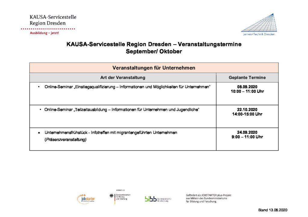 KAUSA-Servicestelle Region Dresden – Veranstaltungstermine September/Oktober<br/>